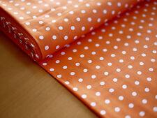 HILCO Baumwolle, HILDE, Stoff, Tupfen, Punkte,gepunktet orange-weiß