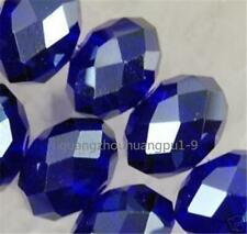 New 300pc 3x4mm Dark Blue Crystal Faceted Gems Loose Beads 5040