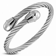 Bracelet Cuff round in Wire Cable Twisted Celtic Stainless Steel