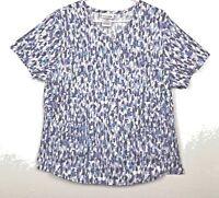 SCRUBSTAR Womens Size L Purple Print Scrub Top