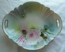NORITAKE Hand-painted Vintage Japan Scalloped Handled Floral Bowl Gold Trim