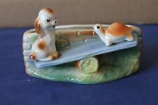 More details for vintage rare hornsea fauna planter with puppy & tortoise on seesaw in colour