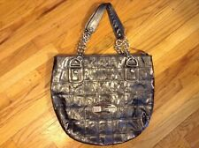 Guess Large Pewter Rainbow Rhinestone Hobo Handbag Tote Shopper Purse Bag