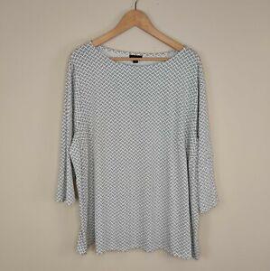 NWT J Jill Wearever Collection 3X Top White Black Print Stretch Knit Plus Size