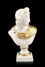 Antique Apollo Céramique Porcelaine Buste Bust Statue à la main 24 ct or Italy