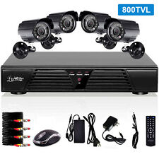 Standalone 4CH CCTV DVR Security Kit 800TVL 4 Outdoor Waterproof Color Cameras