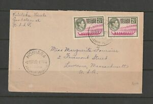 British Solomons 1953 Cover to USA with GV1 2 1/2d X2, HONIARA cancel,