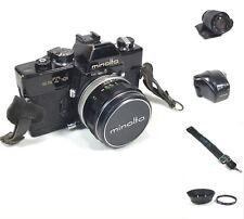 Minolta SRT101 Black Film Camera Lenses 1:1.4 58mm 1:4.0-5.6 70-210mm Case Works