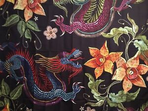 """NEW 60""""x52"""" Bright Colors Blue Dragon Orange Flowers Tapestry Wall Decor w/Clips"""
