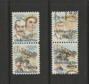US EFO, ERROR Stamps: #C92a Wrights + Airplane, Airmail. Color shift pair. MNH