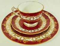 3pc Trio Set AYNSEY England 1215 Red Gold Scroll Tea Cup Saucer & Dessert Plate
