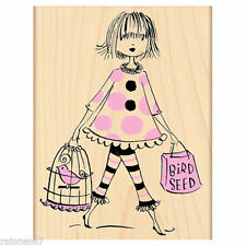 New Penny Black SHOP & and TWEET Rubber Stamp Girl Bird Seed Cage Shopping
