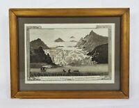 Original Antique 1785 Engraving Iceberg Island of Spitsbergen Norway Landscape