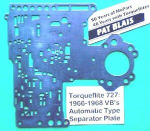 Torqueflite 727 1966 to 1968 Valve Body Separator Plate (used),  AUTOMATIC Type