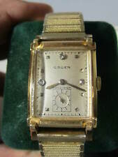 14K Gold Gruen Diamond Dial Curvex Precision Wristwatch / Nice Running Condition