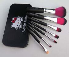 7 pcs Set Hello Kitty Black Tin Storage Box Make Up Cosmetic Brush Set