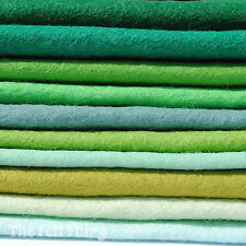 Wool Mix Felt Square 10 x  Green Shades Mix Pack 9 inch