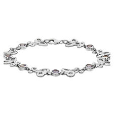 Silver Amethyst Celtic Bracelet Solid Sterling Silver Full Hallmark British Made