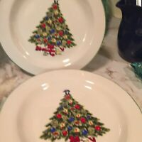 Vintage Christmas Tree Dinner Plates Alco Industries Set Of Four 10.5 Inch
