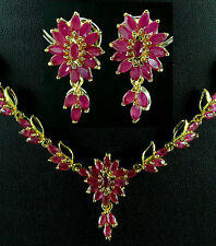 FASHION JEWELRY GEM 14K YELLOW GOLD RED RUBY SAPPHIRE NECKLACE + EARRINGS S901
