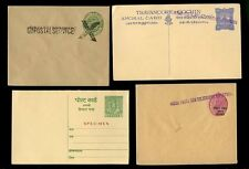 INDIA 1900-1960 STATIONERY SPECIMEN REPLY PAID + DOUBLE OPT + TELEGRAPHS 4 ITEMS
