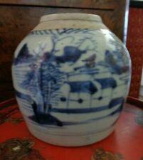 Antique Late Ming Dynasty Blue & White GINGER JAR / TEA JAR SIGNED