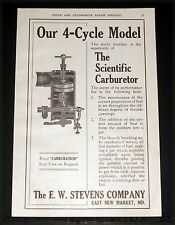 1908 OLD MAGAZINE PRINT AD, E.W. STEVENS, SCIENTIFIC CARBURETOR, 4-CYCLE MODEL!