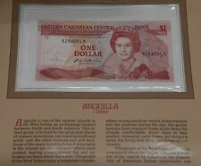 1984 East Caribbean One Dollar Banknote Crisp Uncirculated in Stamped Info Card