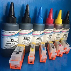 6 REFILLABLE CARTRIDGE PIGMENT DYE INK CANON PIXMA MG 6150 6250 8150 8250 NonOEM