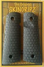 """1911 Grips - """"HORNETS"""" Full Size Magwell 1911  (Flat Black) Original SkinGripz !"""