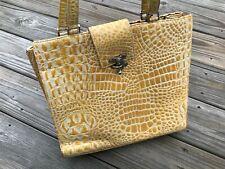 Poesis Handbag Women Shoulder Bag Yellow Crocodile Pattern Ladies Bag