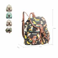 Women's Backpack In Dog Print Girls School Bag Rucksack Animal Print Canvas Bag