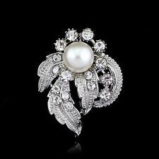 Lady Bridal Bouquet Rhinestone Crystal Brooch Pin Silver Pearl Brooches Flower