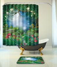 "Fairy Tale Bathroom Mat Waterproof Polyester Fabric Shower Curtain 12 Hook 72"" 3"