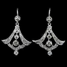 ANTIQUE EDWARDIAN 3CT DIAMOND EARRINGS 18CT WHITE GOLD