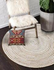 Jute Rugs 100%Natural Jute&Cotton Braided Strip Round Rug Floor Mat Reversible