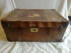 ANTIQUE LEATHER TRUNK, VERY WELL TRAVELLED, BRITISH INDIA STEAM NAVIGATION CO
