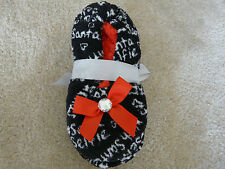 NWT JUSTICE SLIPPERS COZY FLEECE SANTA DESIGN WITH BLING SIZE XS 12-13