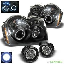 For 05-07 Grand Cherokee Twin Halo LED Blk Projector Headlights + LED Fog