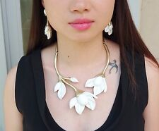 Oscar de la Renta White Magnolia Resin Flower Gold Tone Necklace