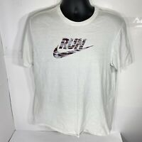 "Nike Men's T Shirt White ""Run"" Graphic Comfort Short Sleeve Cotton Tee Size L"