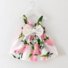 Infant Baby Girls Sleeveless Princess Outfit Straps Summer Beach Gallus Dress UK Pink 0-6months