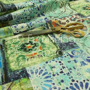 Modern Printed Velvet Blue Green Patchwork Pattern Upholstery Furnishing Fabric