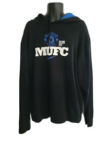 Men's NIKE Manchester United MUFC black pullover hoodie sweatshirt, XXL / 2XL