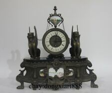 Europe Retro Art Bronze Marble Two Lion Inlay Porcelain Mechanical Table Clock