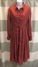 Poppy Lux ASOS Red White Polka Dot Midi Flare Button Up Dress.UK 8/US 4. Vintage