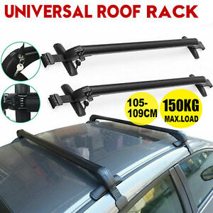 Universal Lockable Aluminium Car Roof Rack Bars No Rail Anti Theft Carrier 105CM