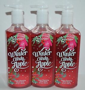 LOT OF 3 BATH & BODY WORKS WINTER CANDY APPLE DEEP CLEANSING HAND SOAP WASH 8 OZ