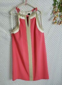 Ann Taylor Dress 16 EUC Coral Pink Color Block Keyhole Sheath XL - 1X