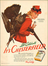 1941 WW2 era AD CHESTERFIELD CIGARETTES Actress Marjorie Woodworth   052115